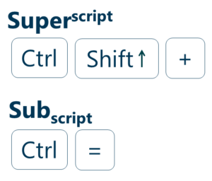 Superscript and subscript shortcuts for Powerpoint