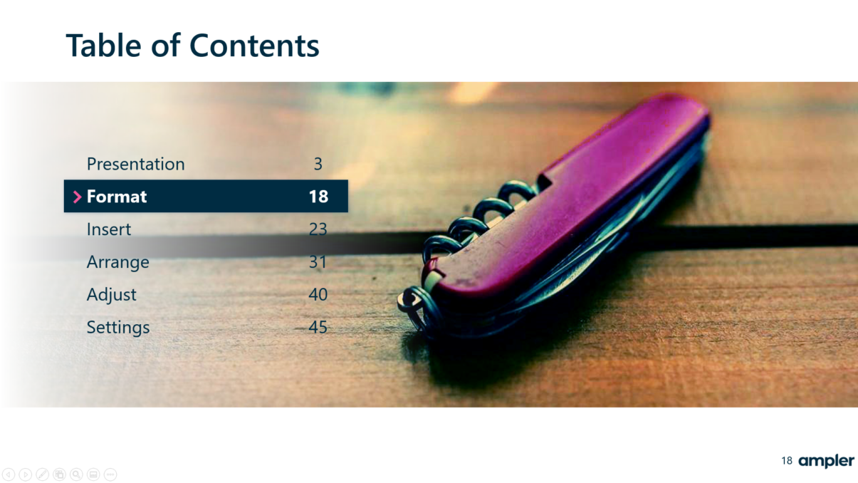 Table of Contents PowerPoint slide example
